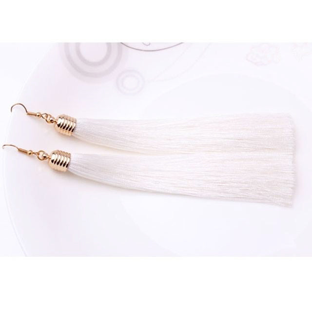 Vintage Ethnic Long Dangle Drop Tassel Earrings Women - FEUZY