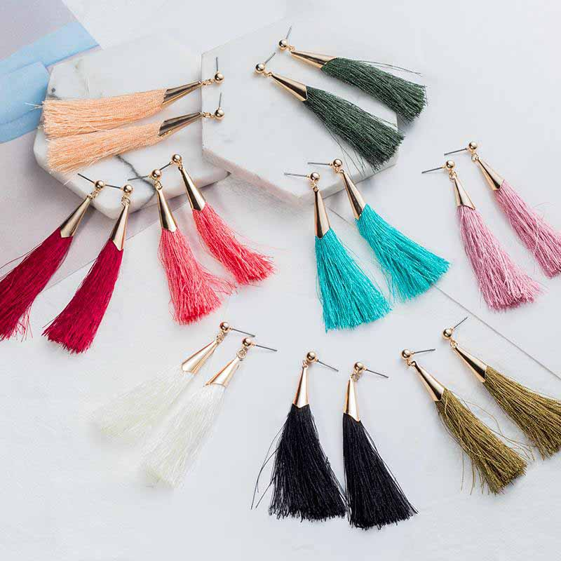 Long Drop Tassel Earrings for Women