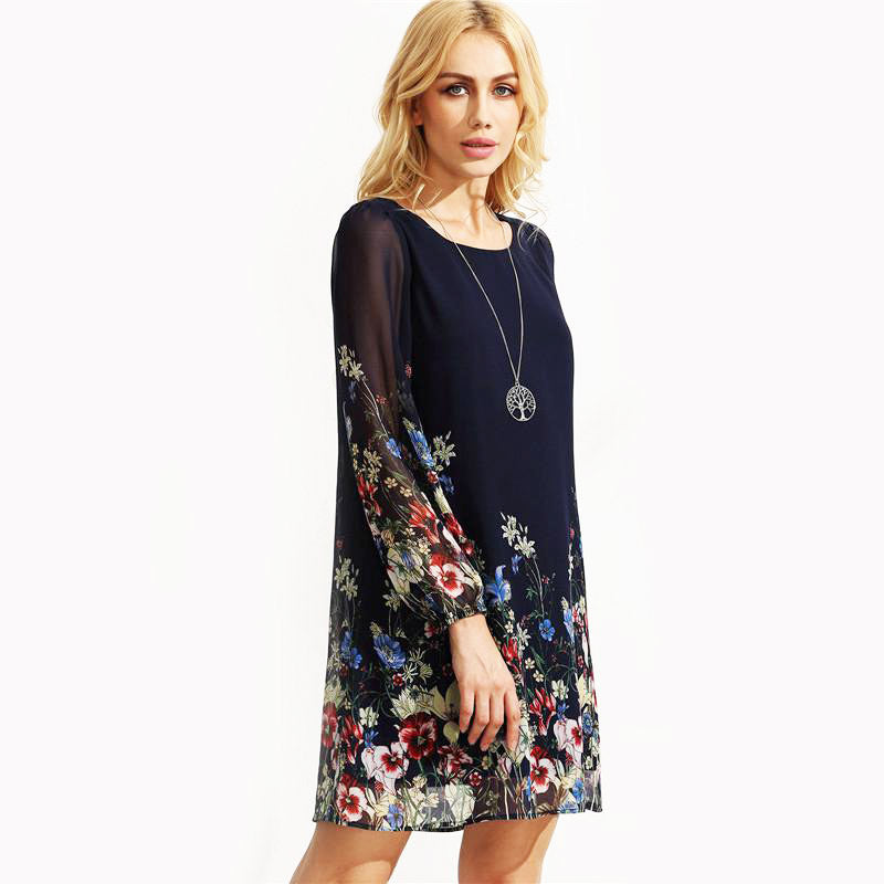 Multicolor Round Neck Long Sleeve Floral Straight Chiffon Dress - FEUZY