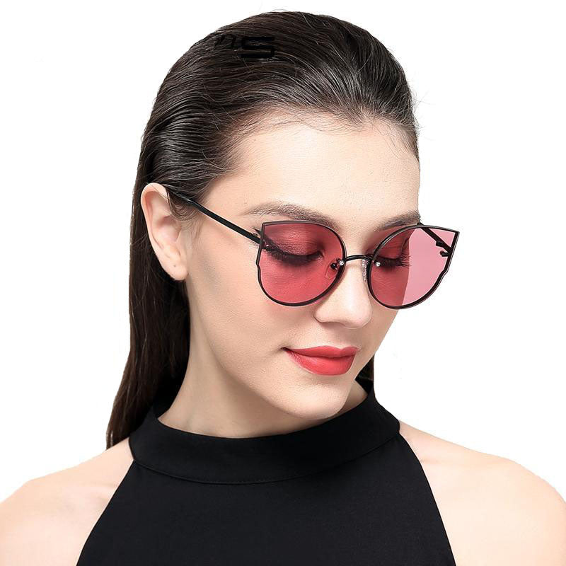 Women Cat Eye Sunglasses with Rimless Metal Frame