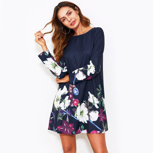 Floral Print Flowy Dress with Navy Boat Neck Long Sleeve - FEUZY