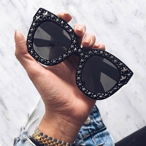 Luxury Square Shaped Crystal Star Deco Women Sunglasses - FEUZY