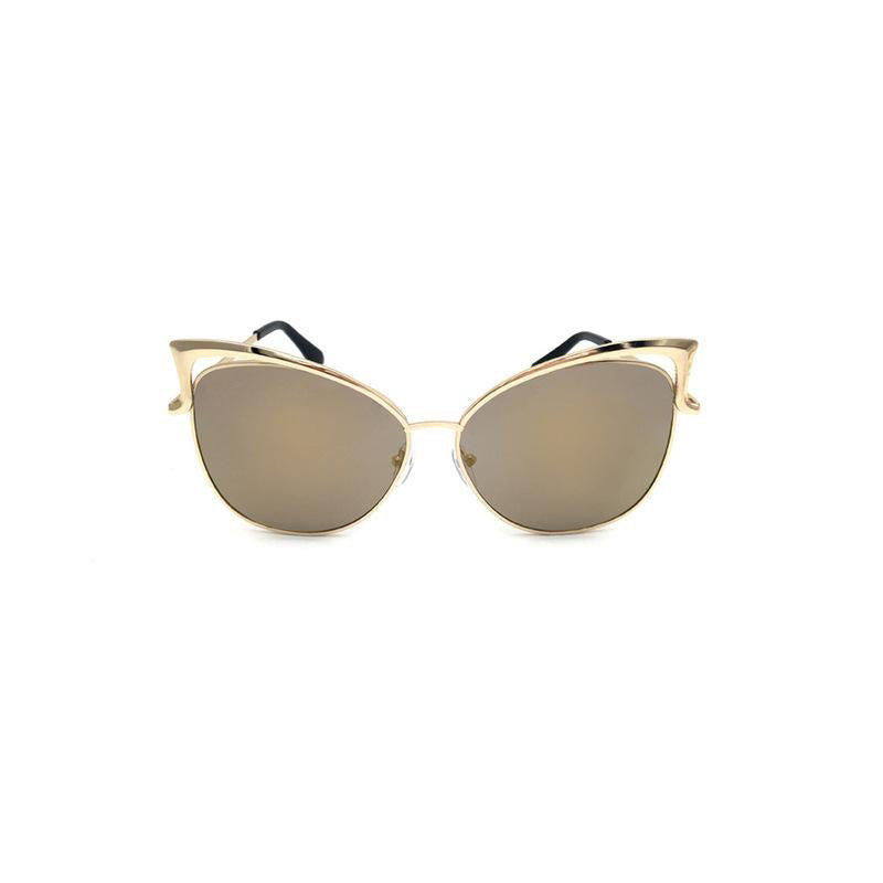 Elegant Cat Eye Female Sunglasses with Gold Metal Frame - FEUZY