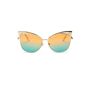 Elegant Cat Eye Female Sunglasses with Gold Metal Frame