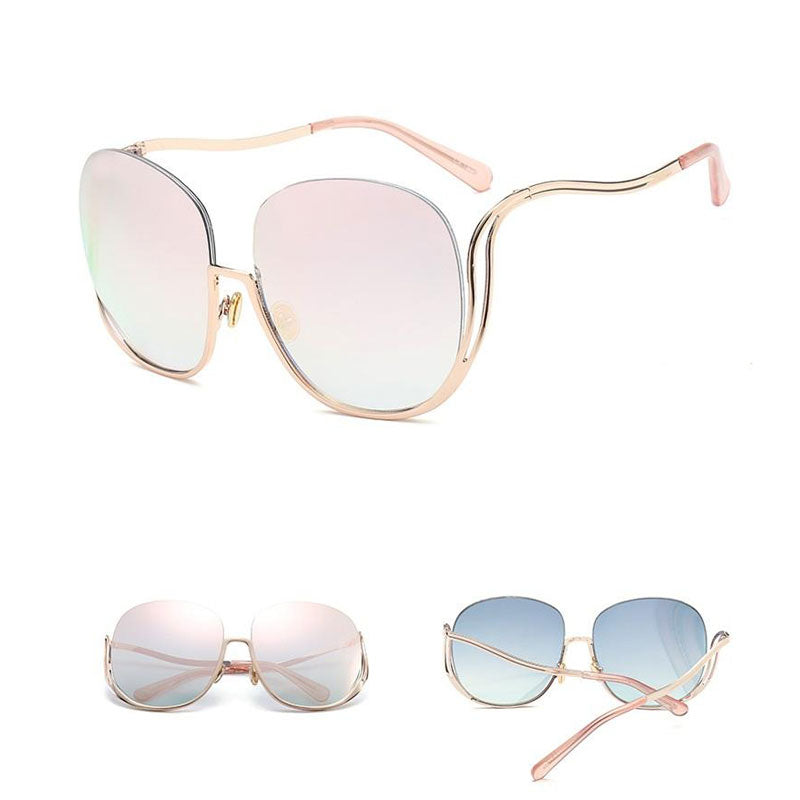 Rimless Oversized Round Gradient Designer Sunglasses for Women - FEUZY