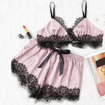 Pink Eyelash Lace Spaghetti Strap Crop Cami Top and Short Pajama Set - FEUZY