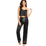 Women Two Piece Black Spaghetti Strap Eyelash Lace Top and Pajamas Set