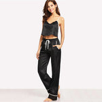 Women Two Piece Black Spaghetti Strap Eyelash Lace Top and Pajamas Set - FEUZY