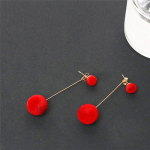 Fashion Red Black Plush Ball Drop Tassel Earrings For Women - FEUZY
