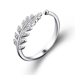 Simple Open Design Leaf Wedding Ring for Women - FEUZY