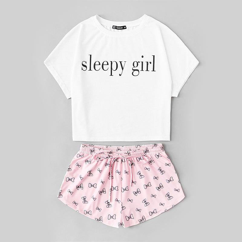 Multicolor Short Sleeve Letter Print Top and Drawstring Shorts Pajama Set - FEUZY