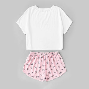 Multicolor Short Sleeve Letter Print Top and Drawstring Shorts Pajama Set