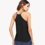 Women Pearl Embellished Cami Black Top with V Neck - FEUZY