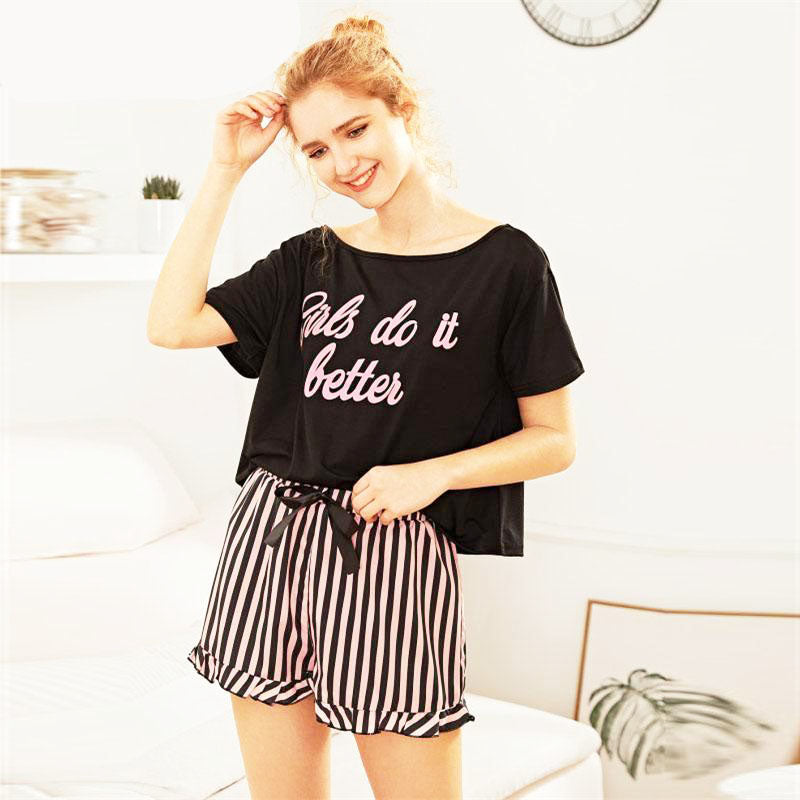 Short Sleeve Top and Striped Shorts Pajama Set - FEUZY