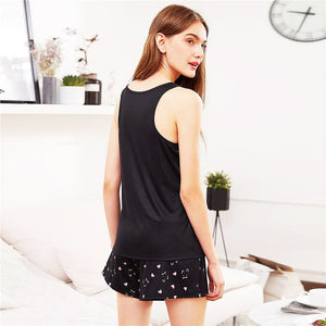 Cat Print Sleeveless Nightwear Scoop Neck with Preppy Pajama - FEUZY