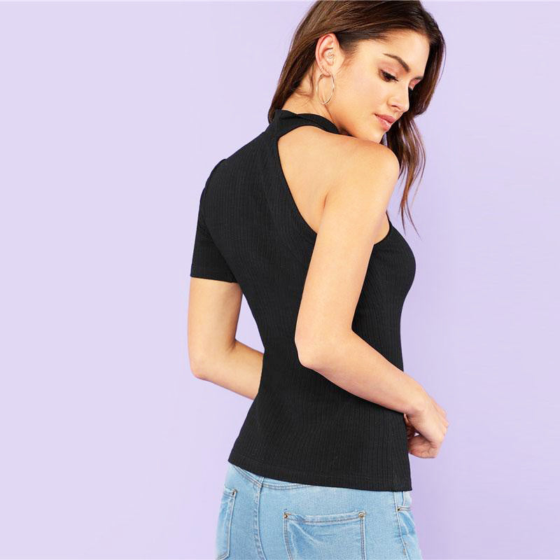 Women Elegant Asymmetrical Sleeve with Stand Collar Solid Black Top