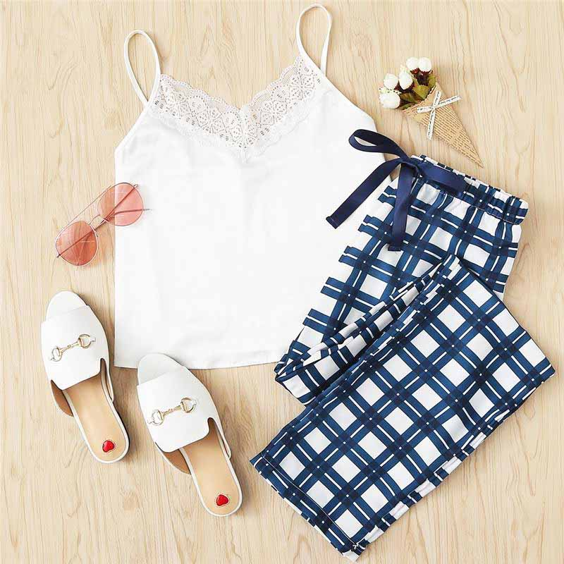 White Spaghetti Strap Sleeveless Lace Embellished Cami & Plaid Pants Set - FEUZY