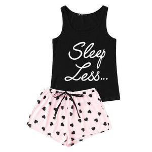 Preppy Sleep Less Print Top & Drawstring Waist Shorts Set - FEUZY