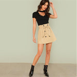 Black Elegant Mock Neck Scallop Trim Cut Out V Collar Short Sleeve Top - FEUZY