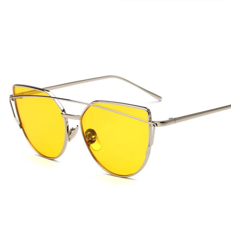 Metal Twin-Beams Frame Cat Eye Sunglasses for Women - FEUZY