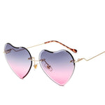 Rimless Heart Shaped Sunglasses for Women 61MM