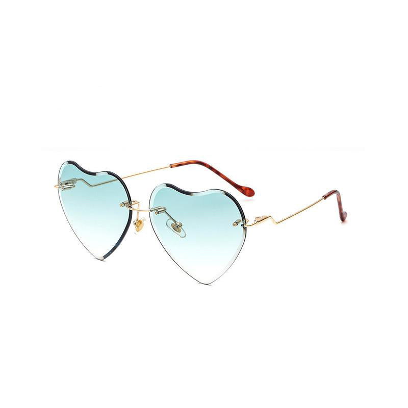 Rimless Heart Shaped Sunglasses for Women 61MM - FEUZY