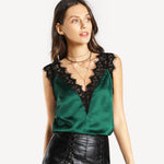 Lace Trim Double V Neck Satin Silk Top Sexy Top for Women - FEUZY
