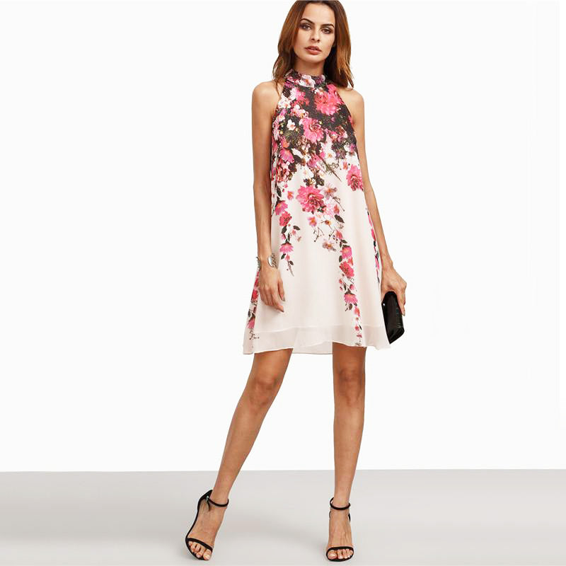 Women Multicolor Round Neck Floral Cut Out Sleeveless Shift Dress - FEUZY