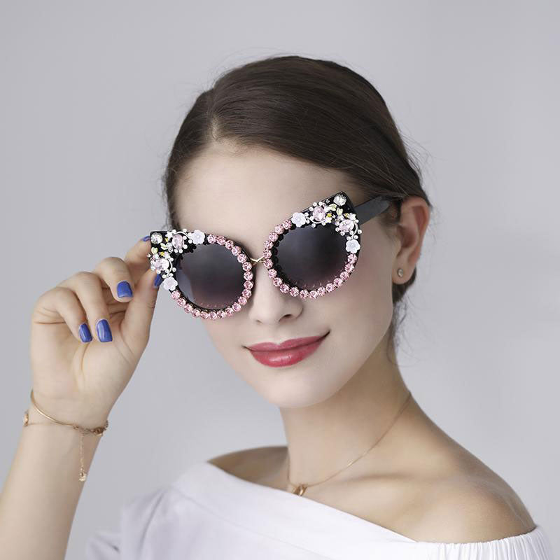 Rhinestone Jewelry Decoration Cat Eyes Sunglasses - FEUZY
