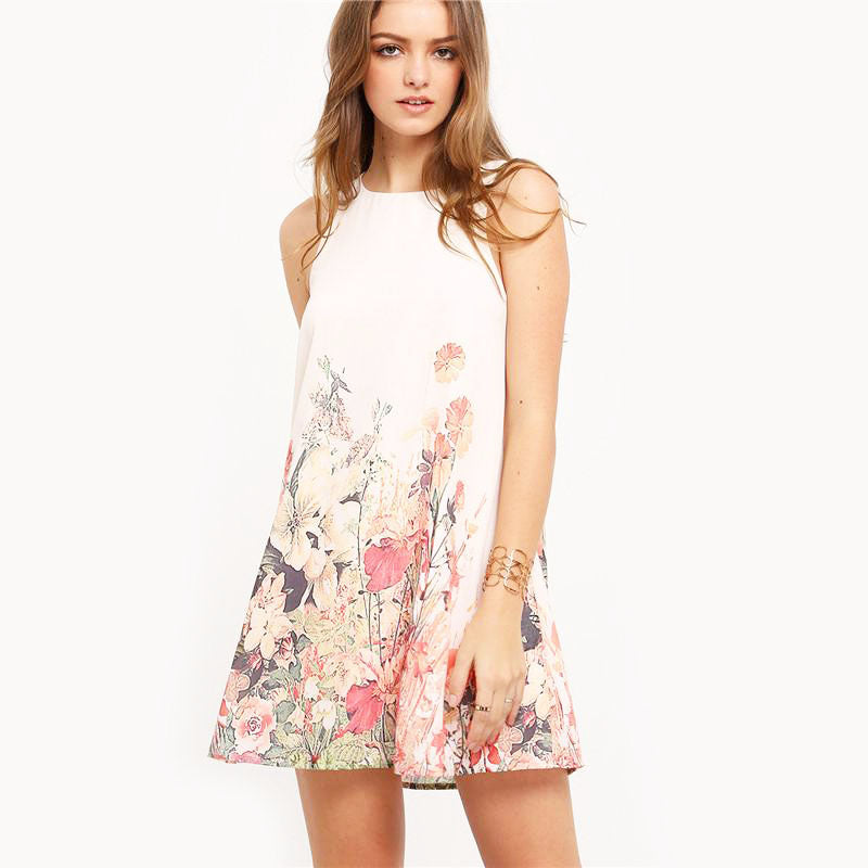 Multicolor Flower Print Round Neck Cut Out Boho Dress - FEUZY