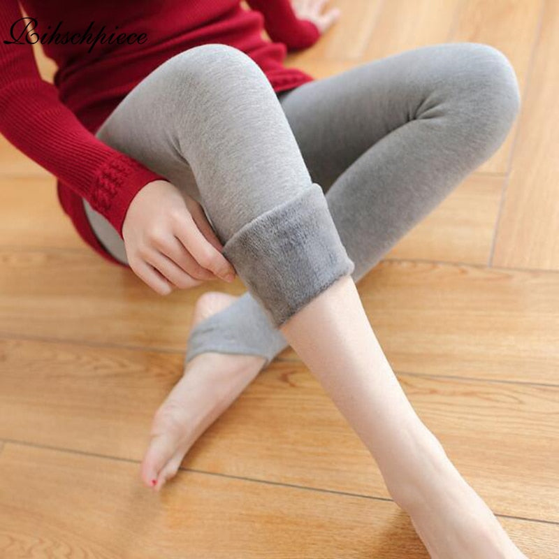 Solid Color Winter Velvet Leggings Women - FEUZY