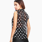 Ruffle Tied Neck Bow Polka Dot Blouse for Women - FEUZY