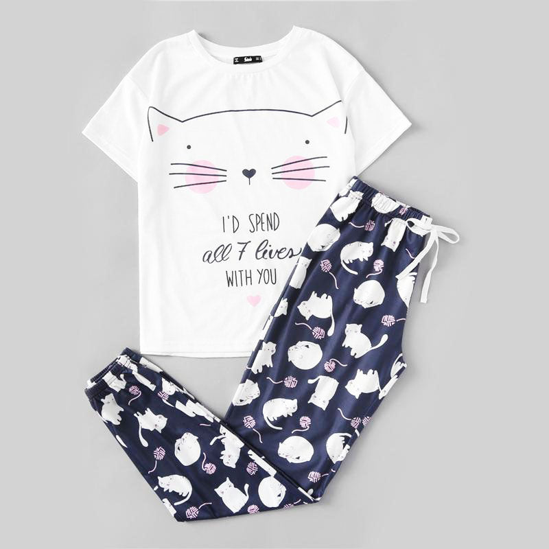 Cat Print Short Sleeve Round Neck White Tee and Blue Pajama Set - FEUZY