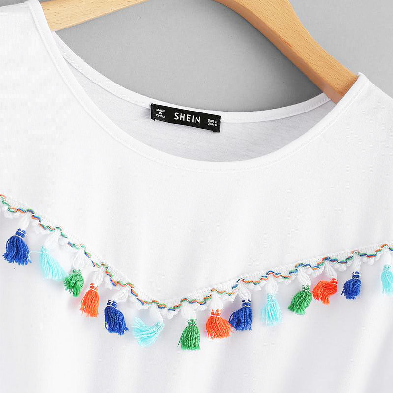 Women Summer Fringe Detail Knot Front White Round Neck Top