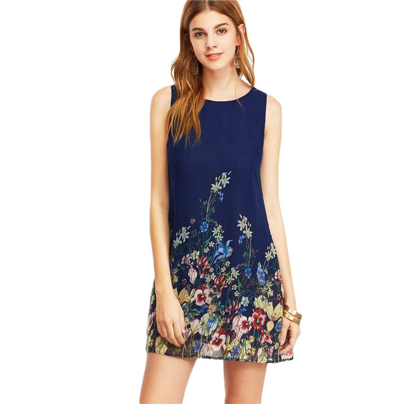 Navy Buttoned Keyhole Back Flower Print Scoop Neck Sleeveless Dress - FEUZY