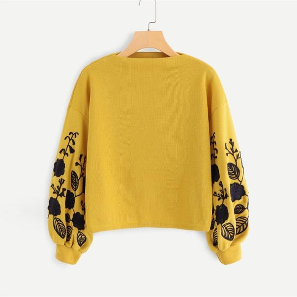 Ginger Preppy Elegant Floral Embroidered Cowl Neck Bishop Sleeve Women Sweatshirt