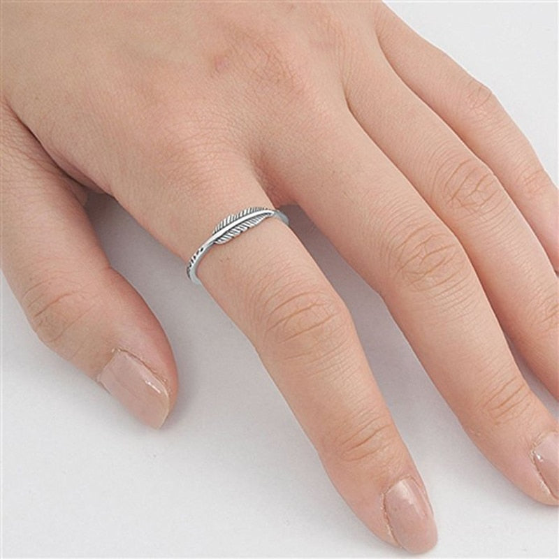 Leaf Feather Women Vegan Silver Ring