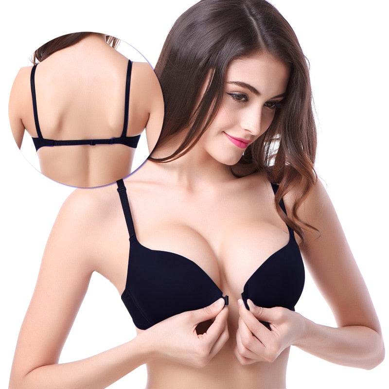 Sexy Women Front Closure Lace Push Up Seamless Underwire Bra