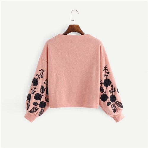 Ginger Preppy Elegant Floral Embroidered Cowl Neck Bishop Sleeve Women Sweatshirt - FEUZY