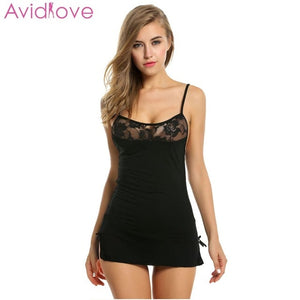 Sexy Lace Cotton Stretchable Mini Night Dress - Plus Size Available - FEUZY