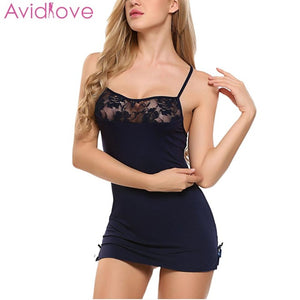 Sexy Lace Cotton Stretchable Mini Night Dress - Plus Size Available