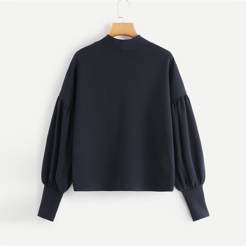 Navy Elegant Preppy Mock Neck Pearl Embellished Drop Shoulder Solid Sweatshirt - FEUZY