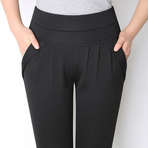 Plus Size High Waist Stretchable Casual Harem Pants for Female - FEUZY