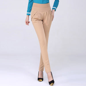 Plus Size High Waist Stretchable Casual Harem Pants for Female