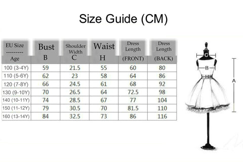 Girly Shop's Flower Girl High Low Dress Size Guide