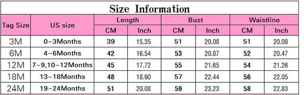 Girly Shop's Baby Girl Baptsm Dress Size Guide