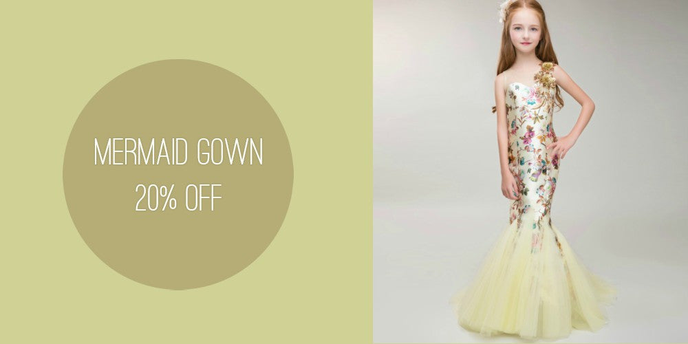 Girly Shop I Light Yellow Trumpet Mermaid Floor Length Baby Girl Birthday Outfit