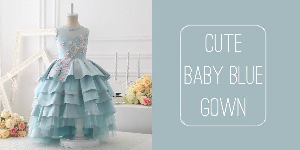 Girly Shop I Elegant & High Quality Sleeveless Tiered Baby Girl Birthday Gown