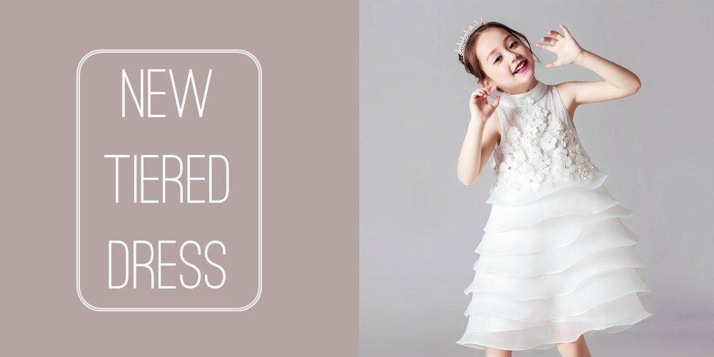 Girly Shop I White Tiered Fancy & Cute Junior Bridesmaid Gown