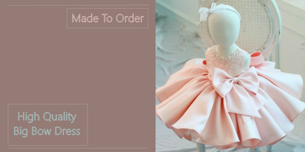 Girly Shop's Light Pink Cute Big Bow Baby Little & Big Girl Party Dress